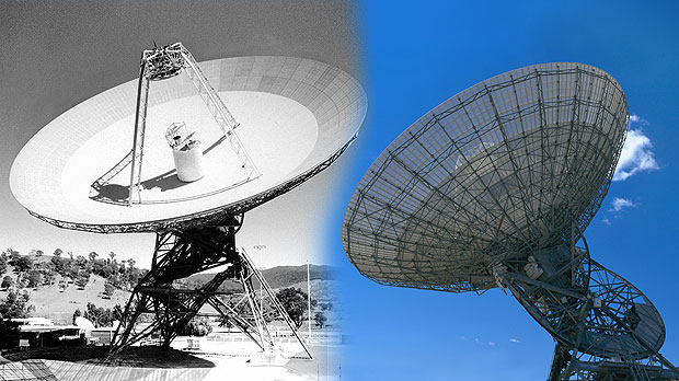 Two photos of the antenna DSS42. Left in black and white showing the surface of the dish, right in colour showing the dish from side on against blue sky