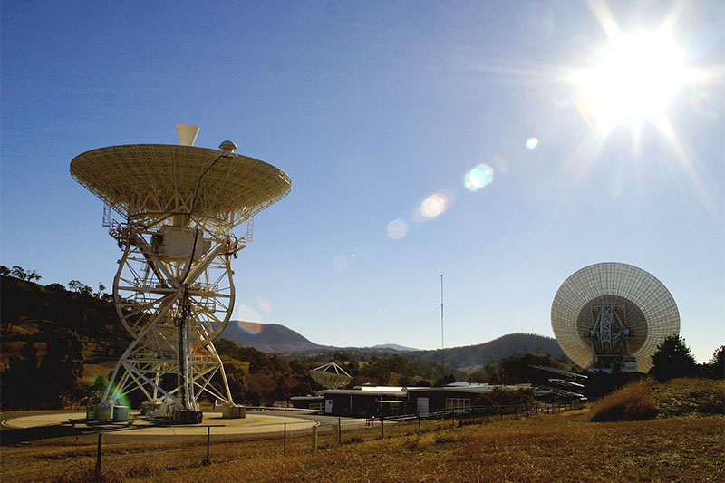 Deep Space station 46 in the foreground with DSS43 behind it