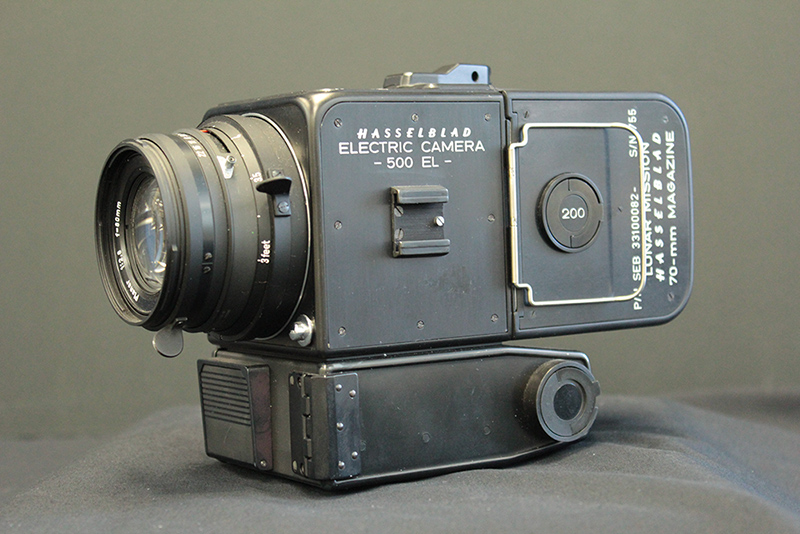 Old Hasselblad electric camera with a lens attached.