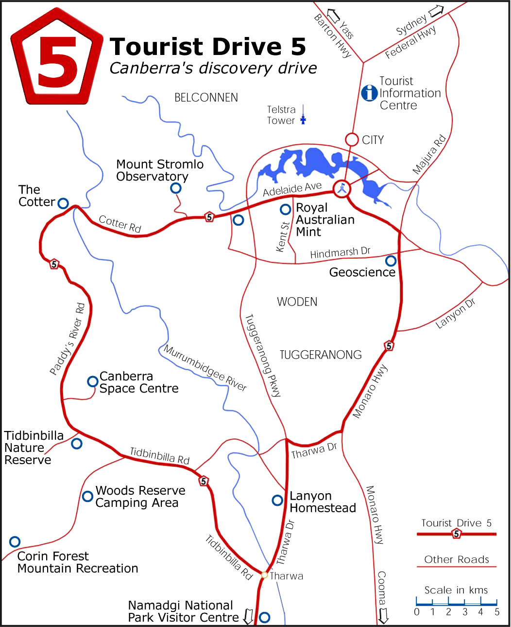 Map of Canberra showing Tourist Drive 5 and the Canberra Deep Space Communication Complex