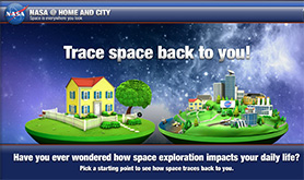 Link to the NASA Spinoffs Home and City interactive. Text on image: Trace Space back to you! Have you ever wondered how Space Exploration impacts your daily life? Image shows an animation of a house and a city.